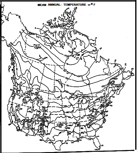 mean annual surface temperature map for north america degrees f the 40 deg f contour follows roughly along the us canada border except along the coast